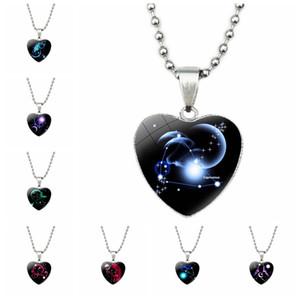 Neue 12 Constellations hängende Halskette für Frauen-Dame-Mädchen Männer Metall, Glas, Herz-Entwurf Stern Mode Pullover Schmuck Silber-Korn-Ketten