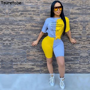 Tsuretobe Letter Print 2 Piece Set Women Patchwork 2020 Summer Tops And Biker Shorts Suits Streetwear Matching Sets Summer Track T200611