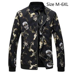 Designer Herrenjacken Men Casual Mäntel Herbst Frühling Oberbekleidung Slim Fit Männer Armee-Schädel-Muster plus Größe 6XL Jacke
