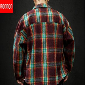 5XL Flannel Casual Shirt Men Winter Blue Thick Plaid Streetwear Fashion Military Blouses Male Japanese Long Sleeve Fleece Shirts MX200518