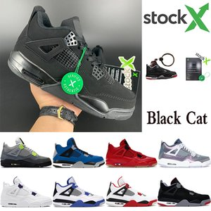 Neue schwarze Katze 2020 4 4s Jumpman Basketballschuhe gezüchtet Neon-Flügel encore US Turnschuhe Trainer Stylist Kaktus Jack White Zement mens 7-13