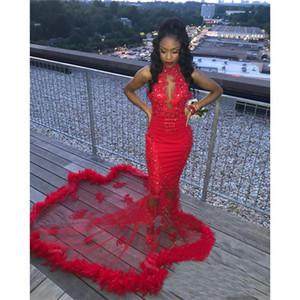 Sexy Red Feather Mermaid Prom Dresses 2K18 Plus Size Vintage Pizzo Paillettes In Rilievo Arabo Arabo Ragazze Abiti Da Sera Abiti