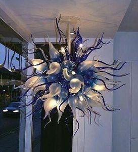 Modern Art Home Decor Blown Lustre de Vidro 100% Boca Boca Brown Blue Chandelier Iluminação e Lâmpadas Pingente Redonda