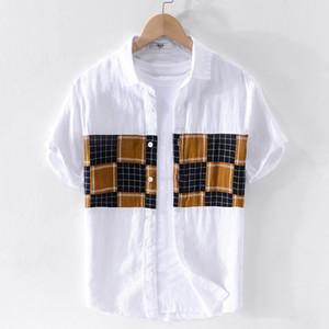 100% Lin marque hommes d'été chemise manches courtes chemises assorties de couleur blanche pour les hommes des hommes de chemise de la mode rétro CHEMISE overhemd
