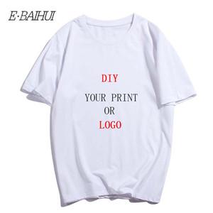 Pure Color del logotipo de cuello redondo manga corta E-BAIHUI impresión personalizada camiseta 100% algodón diseño hombres de la libre DIY Impreso camiseta T-0092