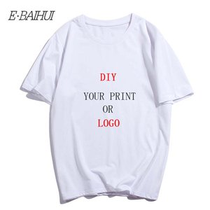 E-Baihui Custom Print тенниску 100% хлопок Дизайн для мужчин Pure Color шею с коротким рукавом Логотип Free DIY Printed Tshirt T-0092