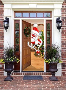 Santa Claus Behind The Door Christmas Door Sticker Removable Waterproof Wall Stickers Bedroom Living Room DIY Wallpaper Dropship
