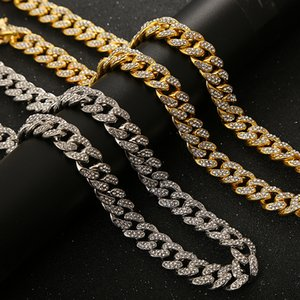 DHL Shipping Mens Hip Hop Jewelry Iced Out Chains Necklace Gold Silver Miami Cuban Link Chains Bling Bling Charm Rhinestone Necklaces B109F