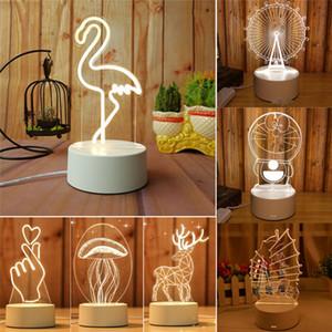3D LED Night Light Голограмма Декор Настольная лампа Love Heart домашнее украшение подарков Картонная Таблица стол Настроения Довольно ночники Durable