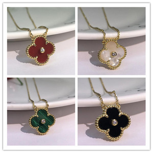 2019 Fashion Jewelry Necklace Black and White Red Green Four Leaf Flower Shell Agate 925 Silver Necklace diamond clover Buckle