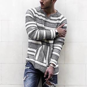 Hombre de las camisetas de manga larga calle suelta la camiseta simple euro americano V-cuello Casual rayas casual ropa de la manera libre del envío S-4XL