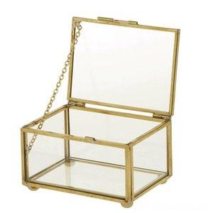 Geometrische Glas-Art-Schmuck-Box Tabelle Container für die Anzeige von Schmuck Keepsakes Hauptdekoration Pflanzen Home Storage Organisation Housek