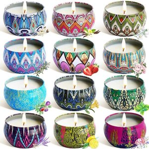 12Pcs Set Soy Wax Scented Candles Ethnic Style Fragrance Candles for Travel Home Wedding Birthday Party Decoration Y200531