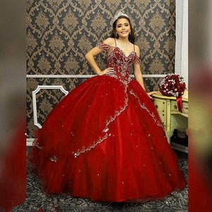 2020 Hot Burgundy Sweet 16 Dresses Vestidos De Quinceanera Princess Two Layers Overskirt Beading Rhinestones Off The Shoulder Lace-up Prom