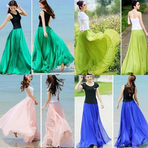 Moda feminina Lady Boho Chiffon Long Maxi Dress Beach Casual Sundress Skirt