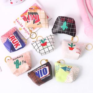 Mini Kadın PU Çanta Para Snack Ambalaj Cüzdan Para Çanta Para Anahtar Kart Cüzdan Fermuar Change Case Cüzdanlar Kılıfı