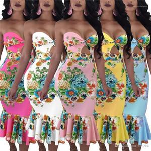 Diseñador imprimió el vestido femenino atractivo del club de noche sin tirantes de Bodycon de los vestidos de sirena de la manera vestidos de las mujeres floral del verano