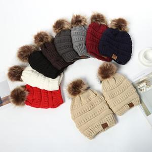 Eltern-Kind-Kappen Familien Spiel Hüte Kidscourful Hüte Strick-Mode Trendy Beanie Winter-Übergroße Chunky Caps Schädel MMA2939-B10