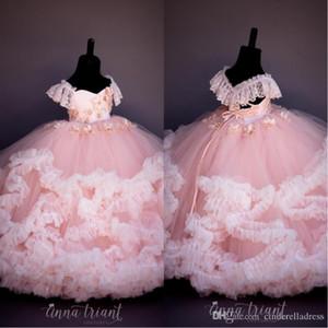 Princess Pink Lace frisada Flower Girl Dresses vestido de baile Feito à Mão Flores baratos Pouco casamento menina vestidos vintage Pageant Vestidos Vestidos