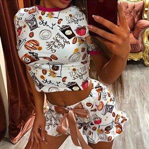 OMSJ 2020 Yeni Kadın Komik pijamalar Parti Suit Yaz Casual Crop Top Ve Şort Kadın İki Adet Kıyafetler Moda Eşofman T200701 ayarlar