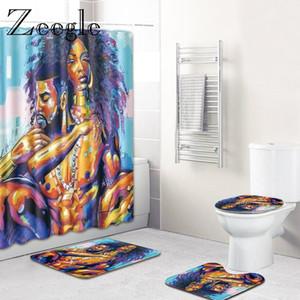 4pcs Badmatte Set Europa-Art-Badteppiche Teppiche WC Fußmatte Gleitschutz für Badezimmer Duschvorhang mit Haken