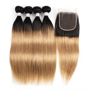 Un 1b27 Ombre Blonde di miele dei capelli umani Bundle con chiusura a 3 o 4 pacchi peruviana diritta corpo onda profonda riccia dell'onda di acqua dei capelli extensi