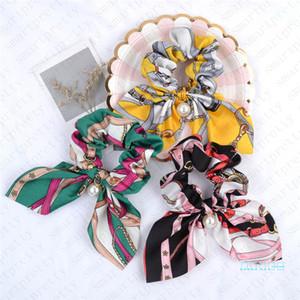 INS kızlar Ters Scrunchies Kadınlar İnci kolye Tasarım toka hairbands Parlak Saç Bandı at kuyruğu Tutucu Saç Tie Çember Takı D51104