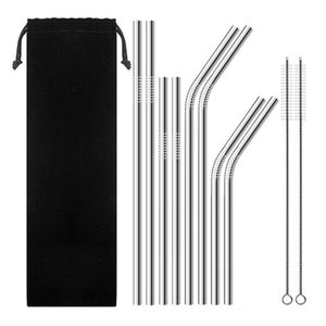 Stainless Steel Drinking Straws Reusable Straws Metal Drinking Straw Diameter 6mm Cleaning brush Straws bag Bar Drinks Party Accessorie