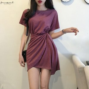 Womens Korean Style Slim O Neck Short Sleeve Solid Crew Neck Casual Lace Up Asymmetrical Dress Korean Dress Drop Shipping