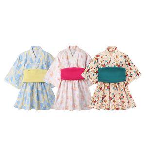Baby Girl barboteuses style japonais Kawaii filles Robe imprimé floral Kimono pour le costume enfants Vêtements pour bébé Yukata asiatiques