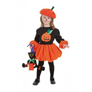 6M-4Y 2PCS новорожденного Baby Girl Boy Halloween Pumpkin костюм Romper Top платье Hat Outfit