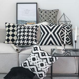 Çekyat Başkanı Home For Dekoratif İşlemeli Yastık Kapak Siyah Beyaz Kanvas Pamuklu Kare Nakış Yastık Kapak 45x45cm