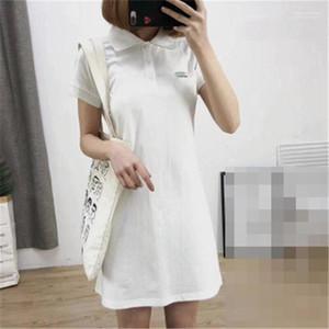 Breve manicotto vestiti da linea femminile Abbigliamento stampa coccodrillo delle donne solide maglietta vestito dal risvolto del collo