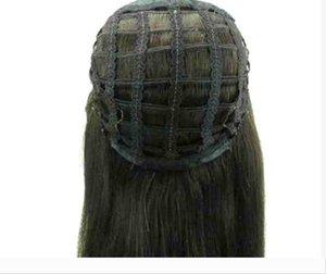 Menschliches Haar Halb Kopf Perücken fallen 3 4 Perücke gerade Jungfrau Remy Menschenhaar Nicht-Spitze-Perücken für Afroamerikaner 4 Farben