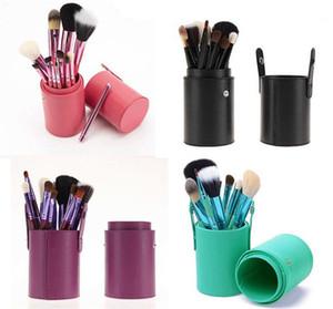 Fábrica direto 12 pcs Pincéis de Maquiagem Definido com cilindro de lã química materiais de fibra de quatro cores de saúde maquiagem escovas Leve e confortável.