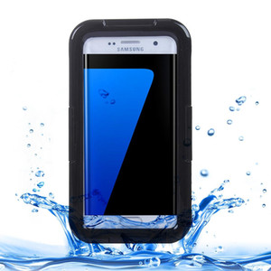 For Galaxy S7 Edge   G935 IPX8 Plastic + Silicone Transparent Waterproof Protective Case with Lanyard