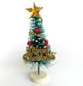 Merry Christmas Mini Artificial Pine Trees with Wood Look Base Holder for Christmas Party and Baby Kids Dollhouse Decoration