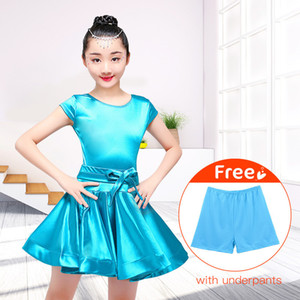 New Latin Dance Dress Girls Party Dress Shining Satin Child Costume With Underpants Short Sleeve Solid Latin Skirt For Dancing