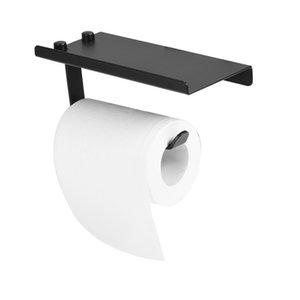 Hot Sale Space Aluminum Toilet Paper Holder Bathroom Black Tissue Box Bathroom Accessories With Bathroom Phone Shelf Holder