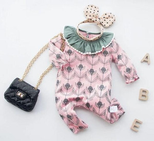 High Quality baby kids clothes Romper Long Sleeve Flower Print Romper Clothes 100% cotton girl rompers 0-2T