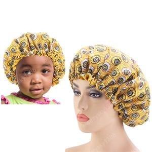2pcs / Set chapeau Soyky Big Bonnet Femmes enveloppez Cap Kids African African Ankara Bonnet Parent Enfants Sleep pour HeadWrap Teak Hair Print Vjgxb