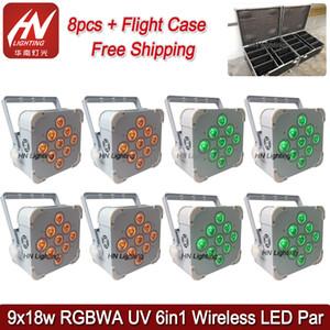 경우 자유 파 9x18w RGBWAUV 배터리 LED 무선 원격 DJ가 uplighting 결혼 DJ와 8PCS는 uplighters 설정