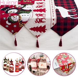 Huiran белье Рождество Элк Снеговик Таблица Runner Merry Новогодние украшения для дома 2019 Xmas украшения Новый год 2020 Navidad
