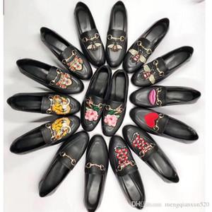 Vera pelle e scarpe piatte 2018 primavera e autunno stagione Chiusure in metallo Scarpe da donna di marca uomo e donna Tacco piatto Designer single s