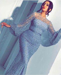 Ice Blue 2019 Arabisch Meerjungfrau Ballkleider Sheer Neck Langarm Sweep Zug Pears Perlen Abendkleider Abend Party Tragen vestidos de noche