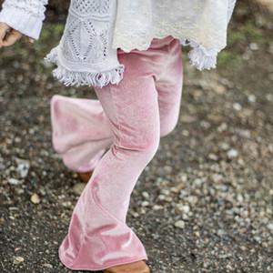 الصلبة الخريف بيل القاع فتاة اللباس الداخلي سروال الوظائف Pleuche أطفال للالجوارب فتاة النبيذ الأحمر سليم بنطلون 1-5years المادة الربيع بنطلون RRA1937 Argp