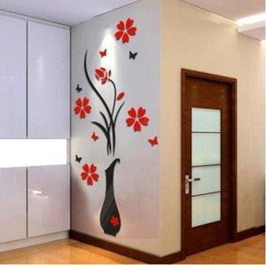 Стикер стены PE пены 3D переключатель наклейки DIY вазы цветок дерево Кристалл Arcylic 3D стены наклейки наклейка Home Decor Apr4