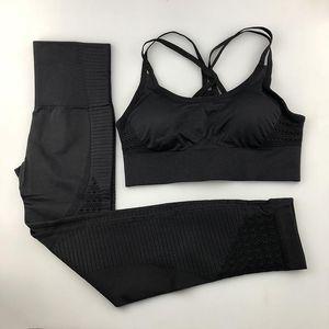 Nahtlose Yoga Set Frauen Fitness Kleidung Sportkleidung Frau Gym Leggings Padded Push-up Riemchen Sport-BH 2 Stück Sport-Klagen