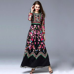 High Quality New Arrival Women's O Neck Long Sleeves Embroidery Designer Elegant Maxi Runway Dresses In 2 Colors