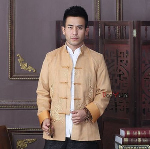 Bordado dos homens chineses Dragon Kung Fu jaqueta de festa / casaco CheongsamS M L XL 2XL